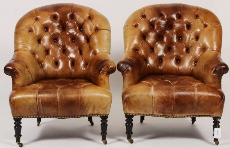 Pr. Of Victorian Style Leather Library Chairs, Sold For $3,125