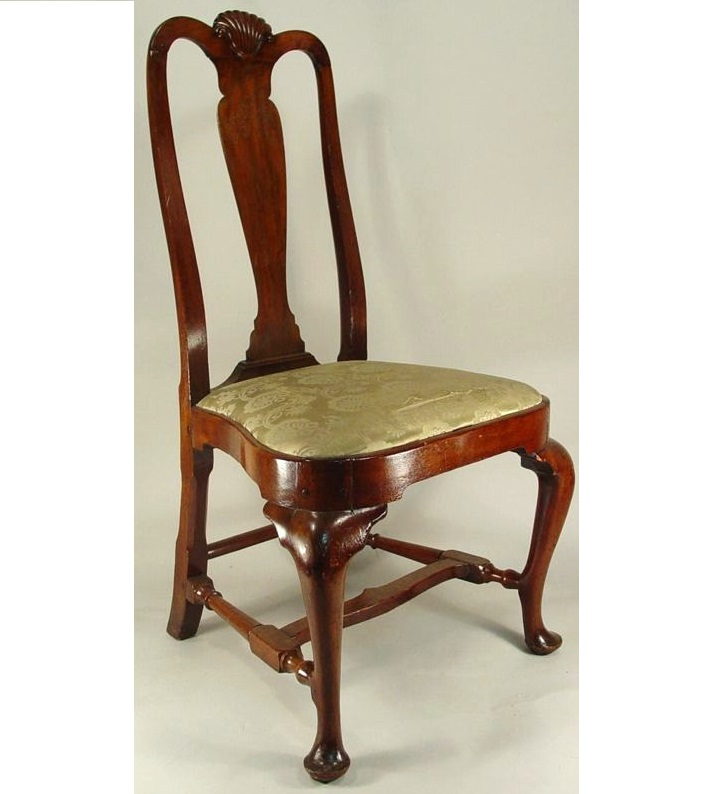 Queen Anne Walnut Compass Seat Side Chair, Probably Rhode Island, C. 1740-50. Sold For $13,200.