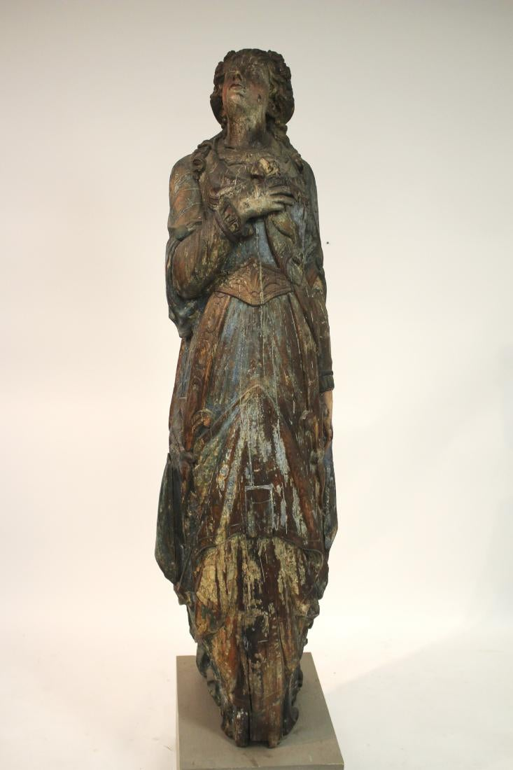 Rare C.1850 Or Earlier Wood Carved Ship Mast Figurehead Of A Maiden. Sold For $20,800