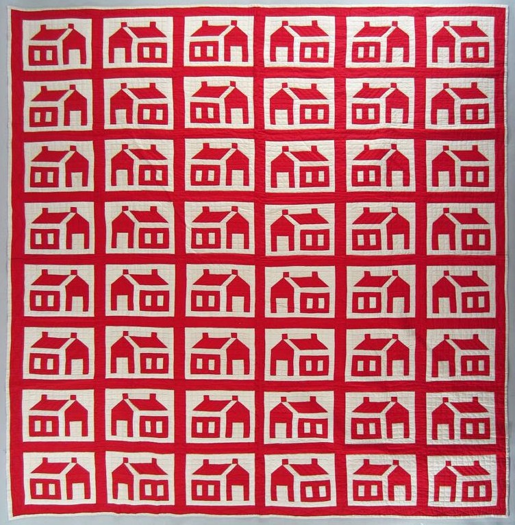Red And White 'Little Red Schoolhouse' Quilt, American. Sold For $875.