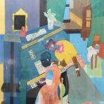 Romare Bearden, African-American., 1911-1988, Piano Lesson. Sold For $8,125