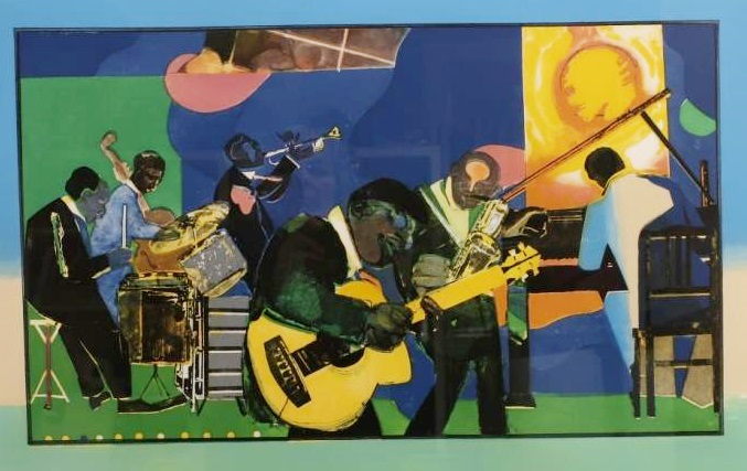 Romare Beardon, American, 1911-1988, Jamming At The Savoy, Etching, Aquatint In Colors. Sold For $5,125