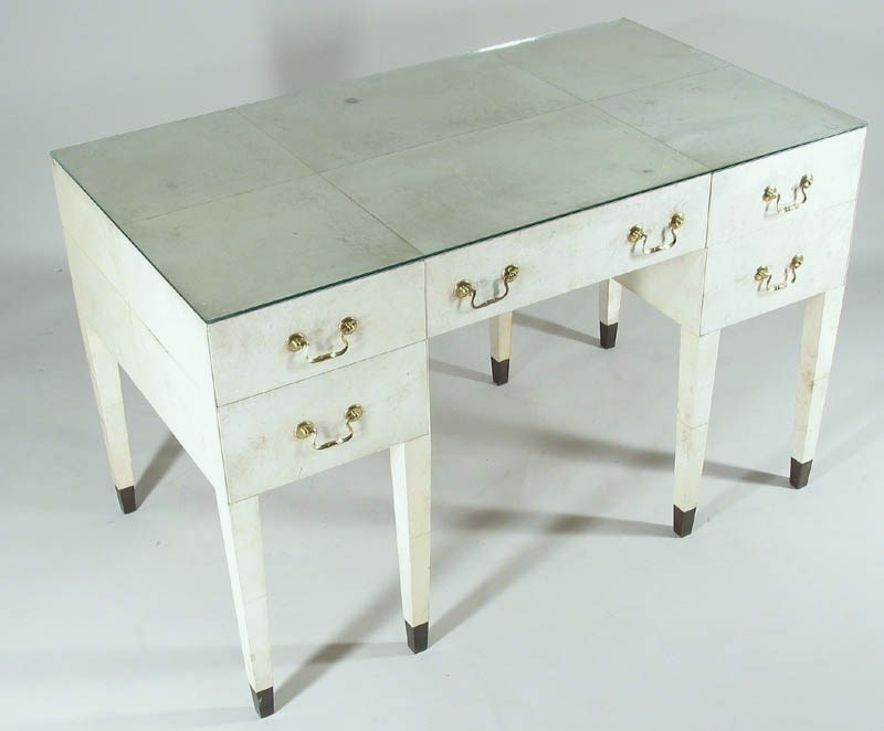 Samuel Marx Parchment & Wood Desk, Manufactured By Quigley & Co., C. 1940. Sold For $19,800.