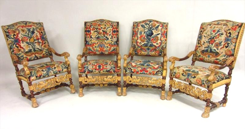 Set Of 4 Louis XIV Walnut And Gilt Fauteuils, Circa 1700 And Later. Sold For $23,400.