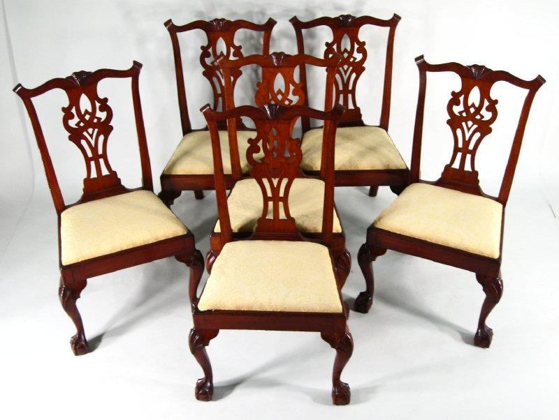 Set of american chippendale carved mahogany dining