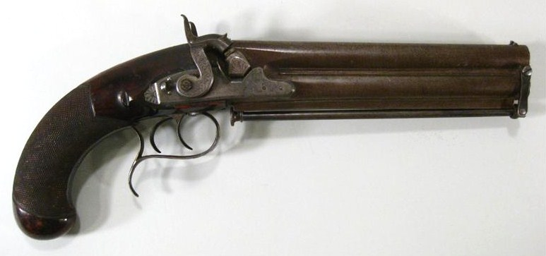 Simeon North Double Barrel Percussion Pistol, Middletown, CT. Sold For $6,875.