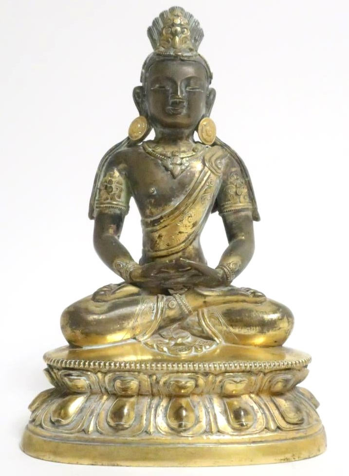 Sino Tibetan Bronze Figure Of Buddha, Hands Dhyana Mudra. Sold For $5,850