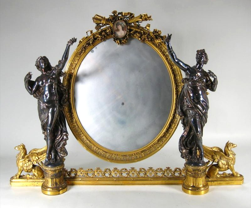 Substantial Christofle & Cie Silvered & Gilt-Bronze Dressing Glass (Table Mirror), 19th C.$18,840.