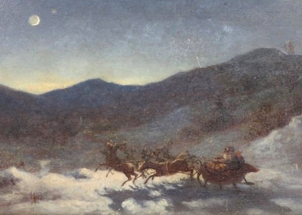 Thomas Nast, American, 1840-1902, Santa Claus's Northstar's Evening Sleigh Ride. Sold For $10,625