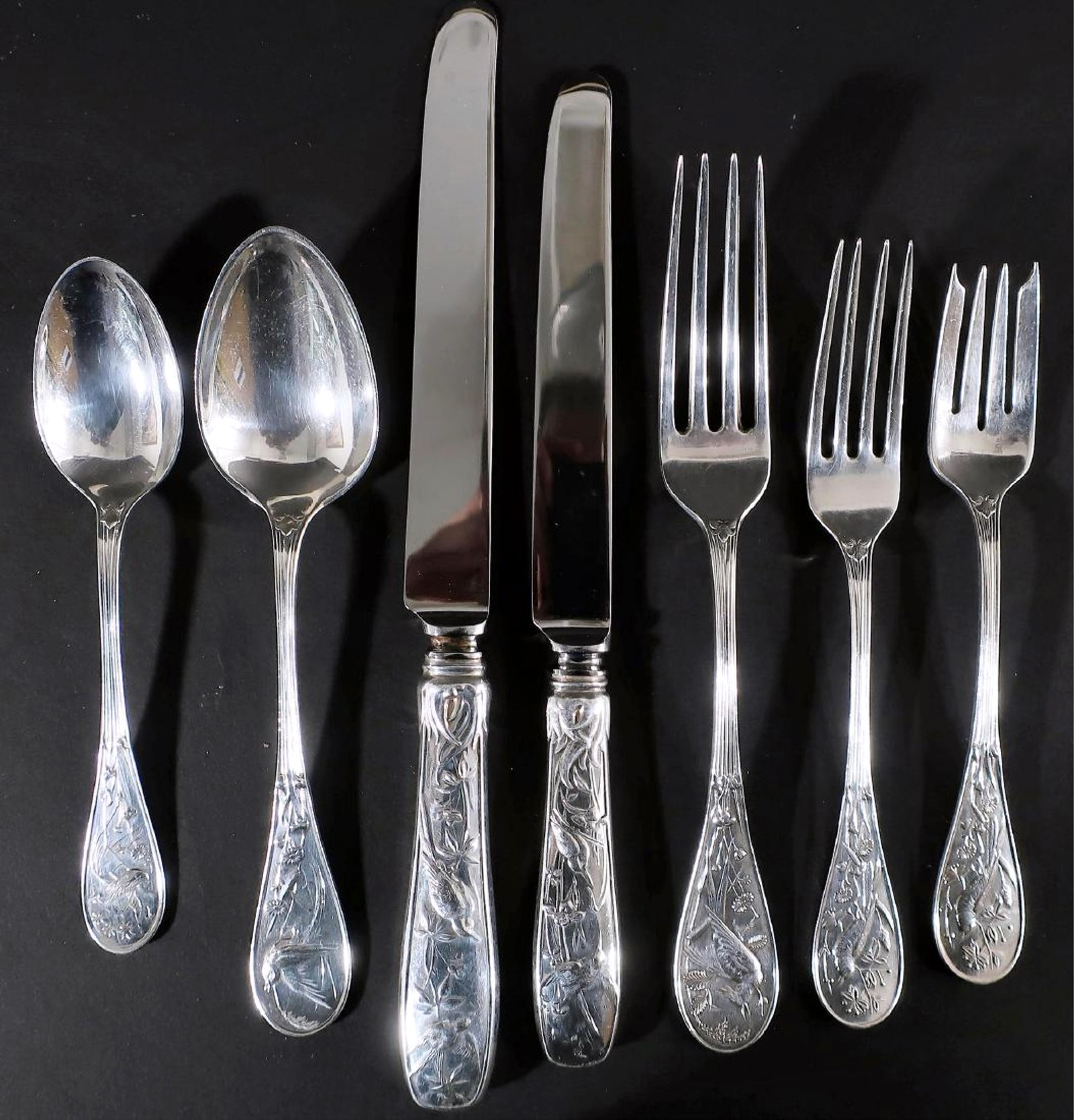 Tiffany 'Audubon Birds' Pattern Sterling Silver Flatware Service. Sold For $15,625