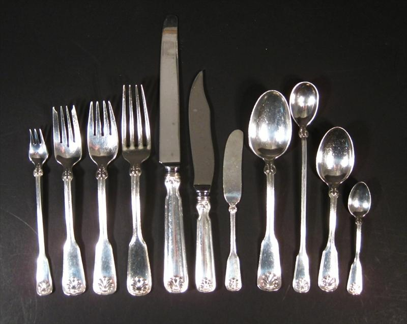 Tiffany Sterling Silver Flatware Service, 20th C., Shell And Thread Pattern. Sold For $15,625.