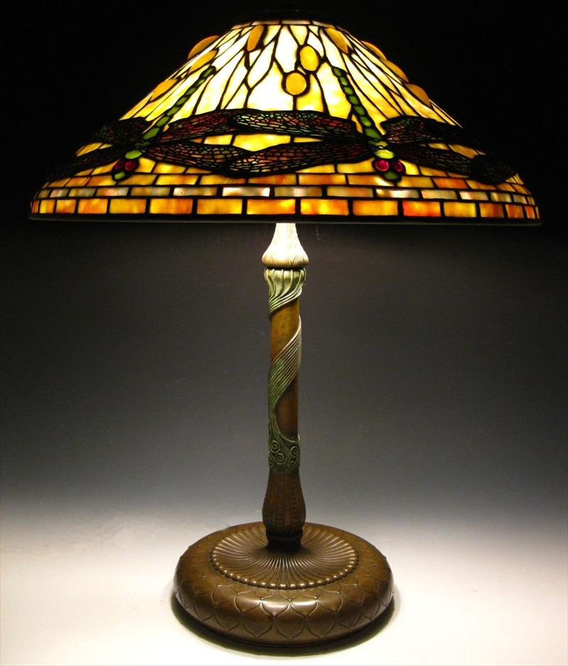 Tiffany Studios 'Dragonfly' Leaded Glass & Bronze Table Lamp, C. 1905. $Sold For $63,000.