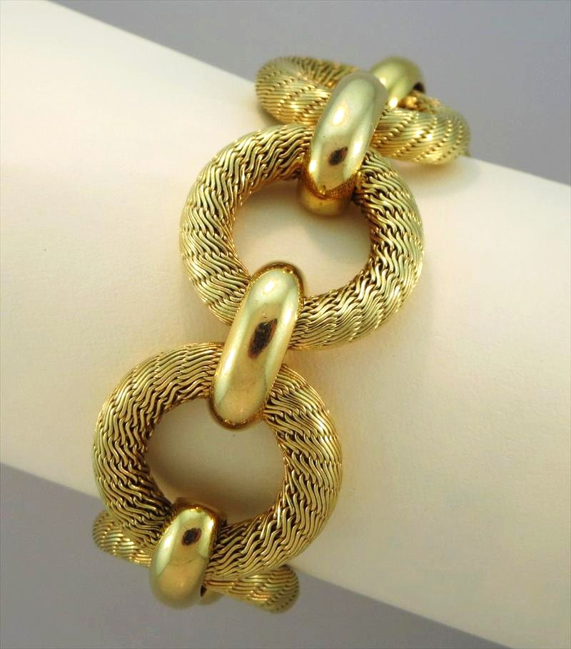 Tiffany and Co  18K gold round link bracelet  Sold for