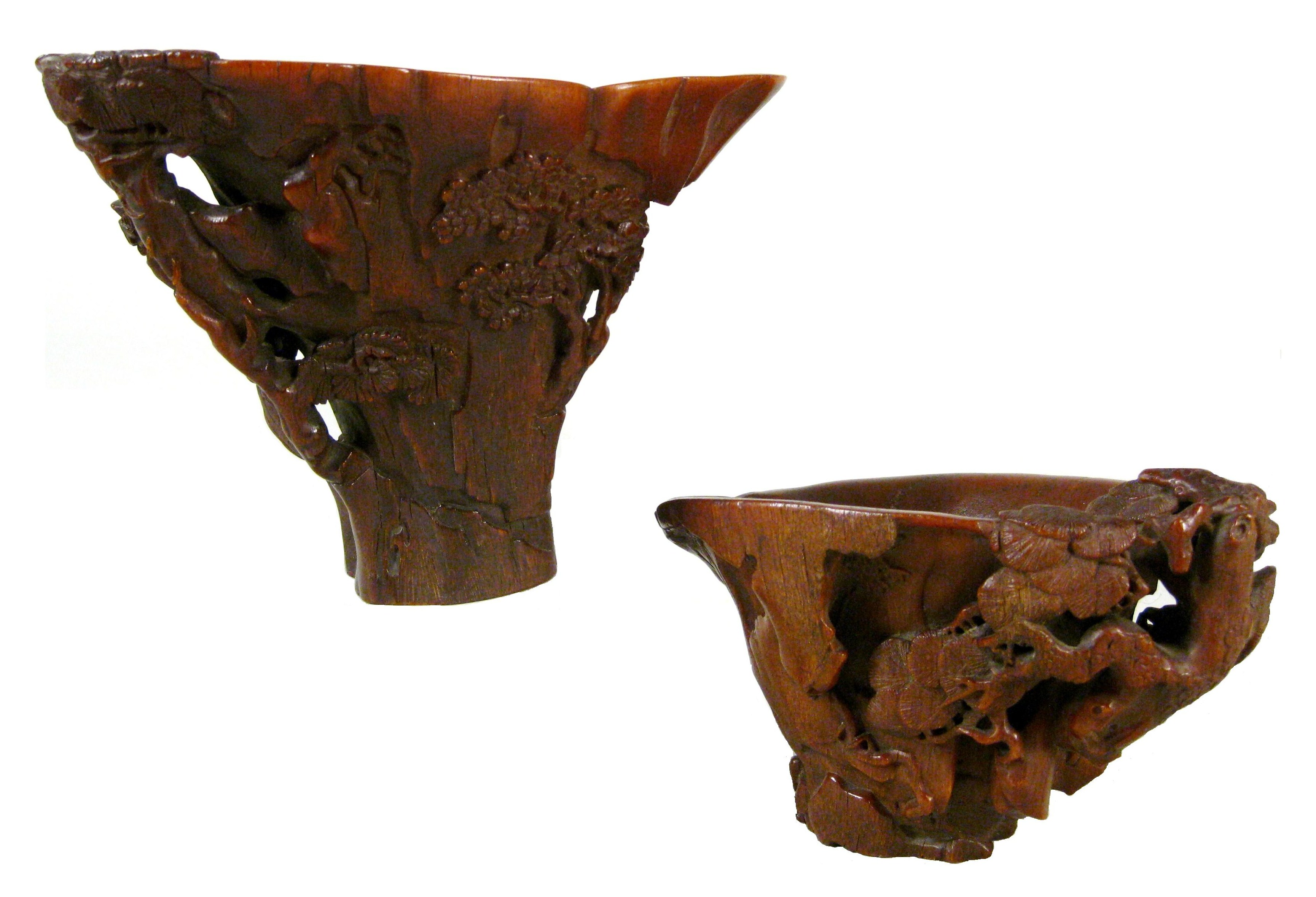 Two Chinese Carved Rhinoceros Horn Libation Cups, 17th C. Sold Collectively For $263,636.
