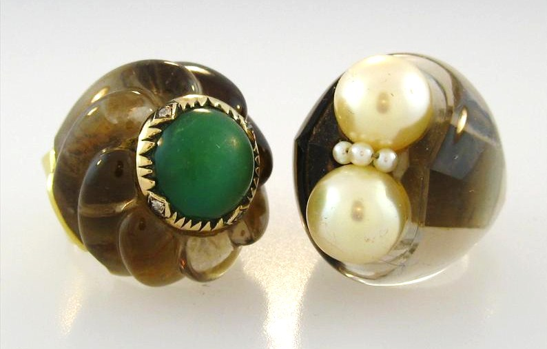 Two Smoky Quartz Cocktail Rings. Possibly Madame Suzanne Belperron. Sold For $15,000.