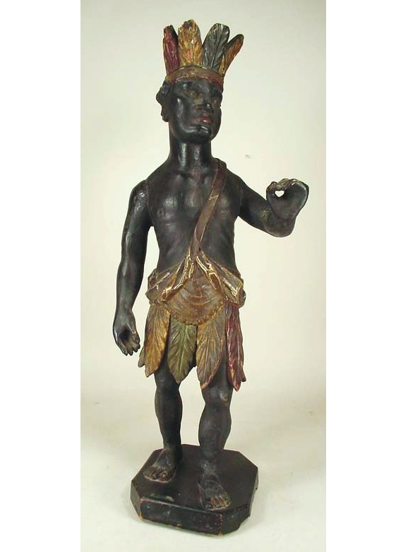 Venetian Carved, Gilded And Polychromed Native American Figure, 19th C. Sold For $7,437.