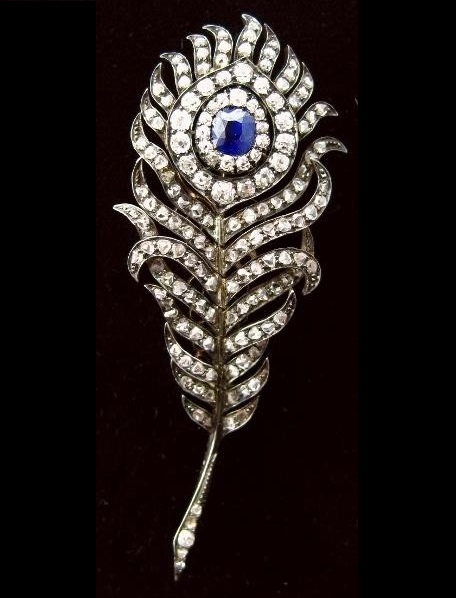 Victorian Diamond And Sapphire En-Tremblant Feather Pin, Late 19th C., In Mem. Sir Moses Montfiore Died 28th July 1885. Sold For $8,100