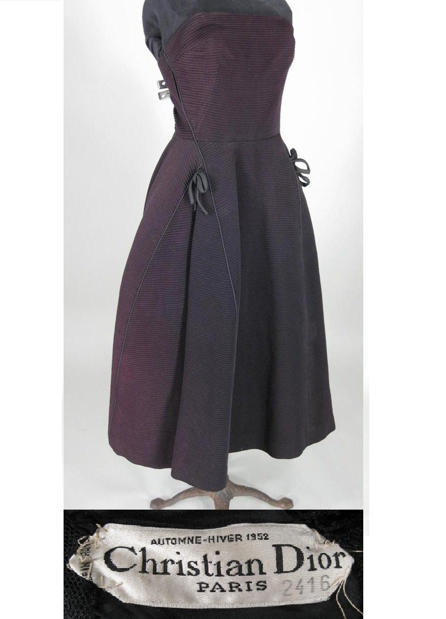 Vintage Christian Dior Automne-Hiver 1952, Paris Black Strapless Cocktail Dress. Sold For $837.