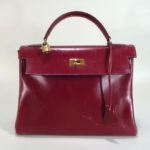 Vintage Red Leather Birkin Bag By Hermes, C.1980's. Sold For 1,218.