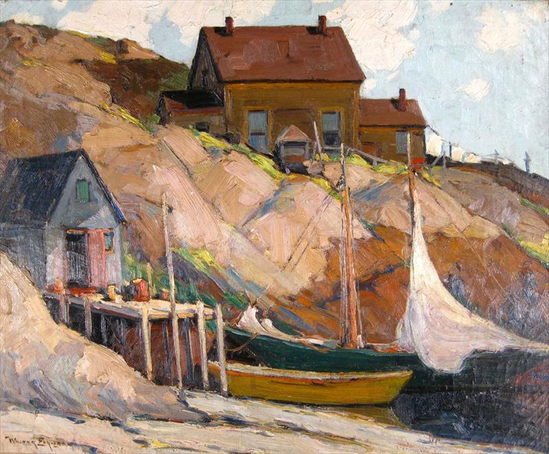 Walter Farndon, American, 1876-1964, Fisherman's Home, Oil On Canvas. Sold For $19,200.