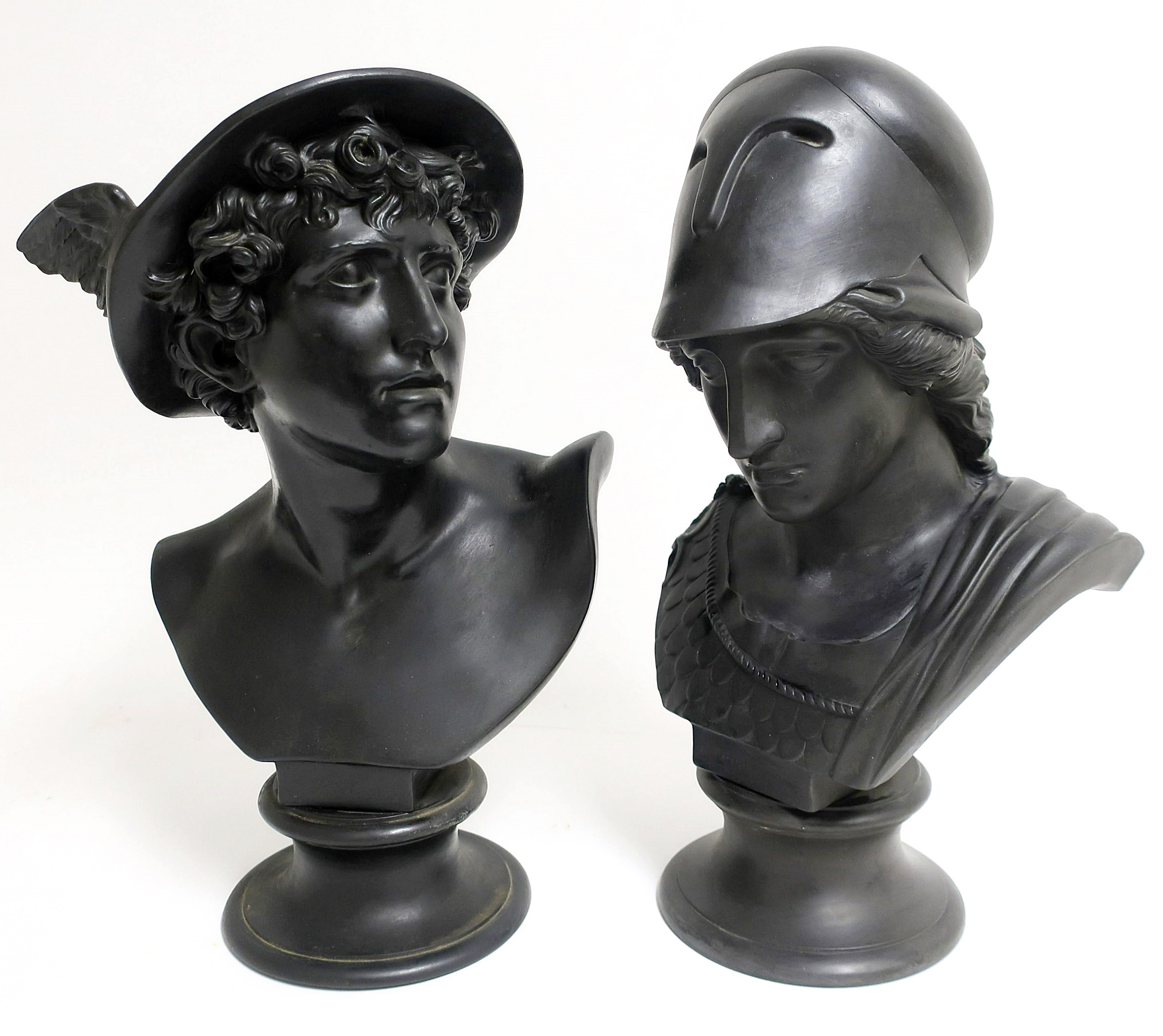 Wedgwood Basalt Busts Of Mercury & Minerva. Sold For $4,030