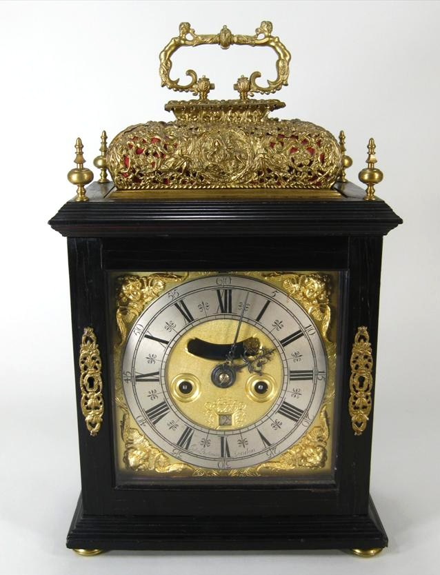 William & Mary-Queen Anne 4-Bell Striking & Repeating Mantel Clock, John Bushman, C. 1700. Sold For $12,000.