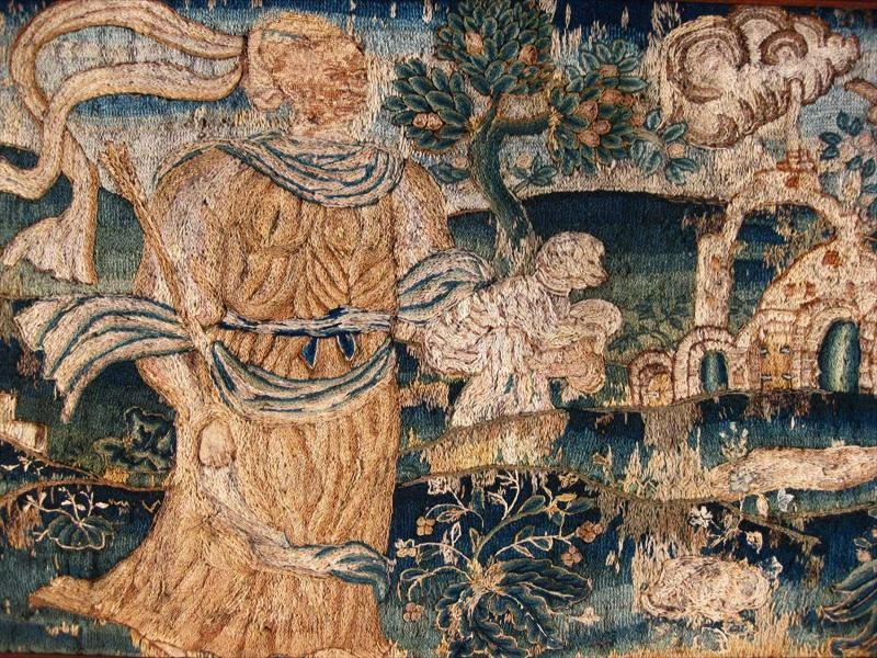 Wool Needlework Tapestry, Flemish, 17th C. Sold For $1,687.