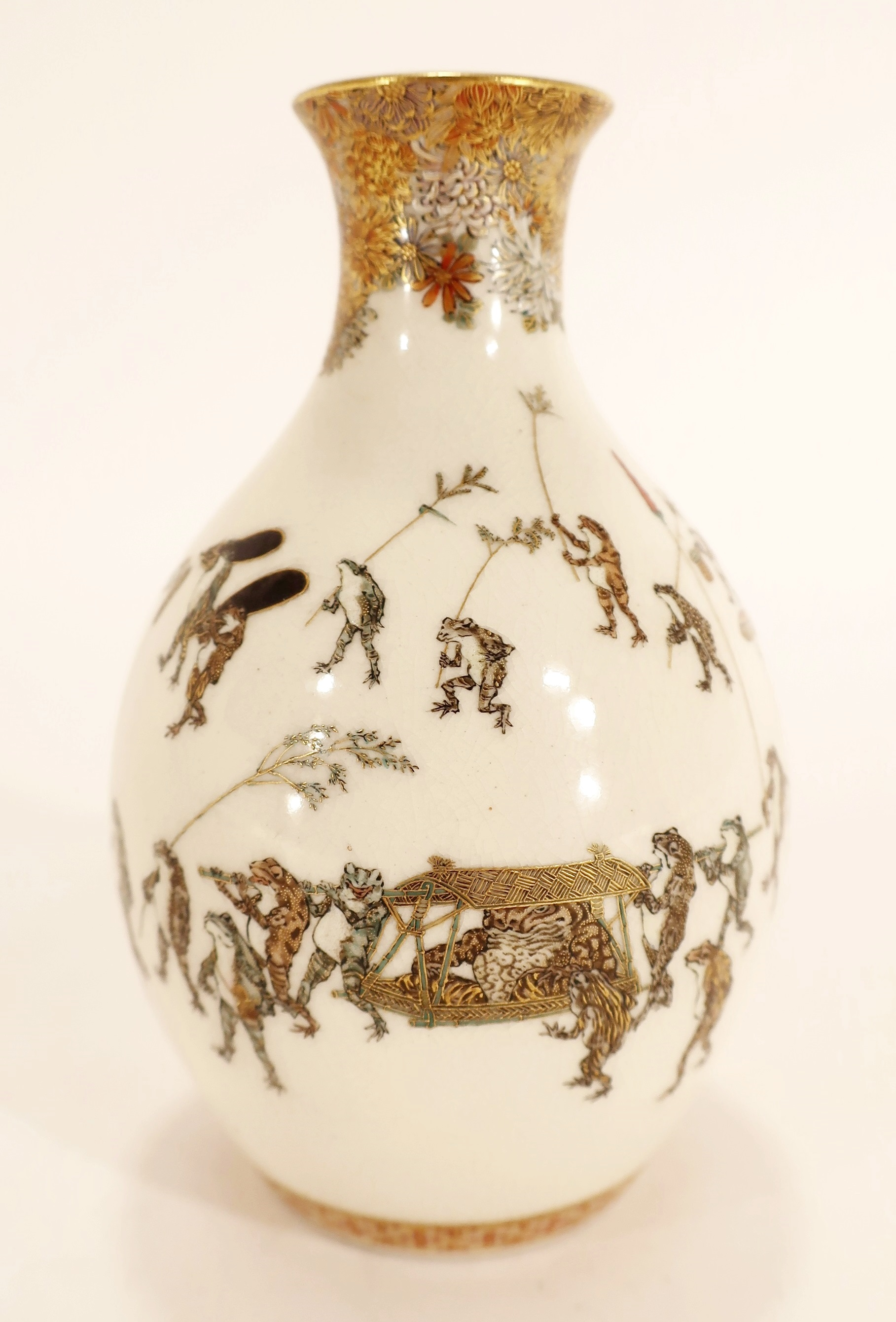 Yabu Meizan Anthropomorphic Frogs Meiji Vase 19th. Sold For $37,500
