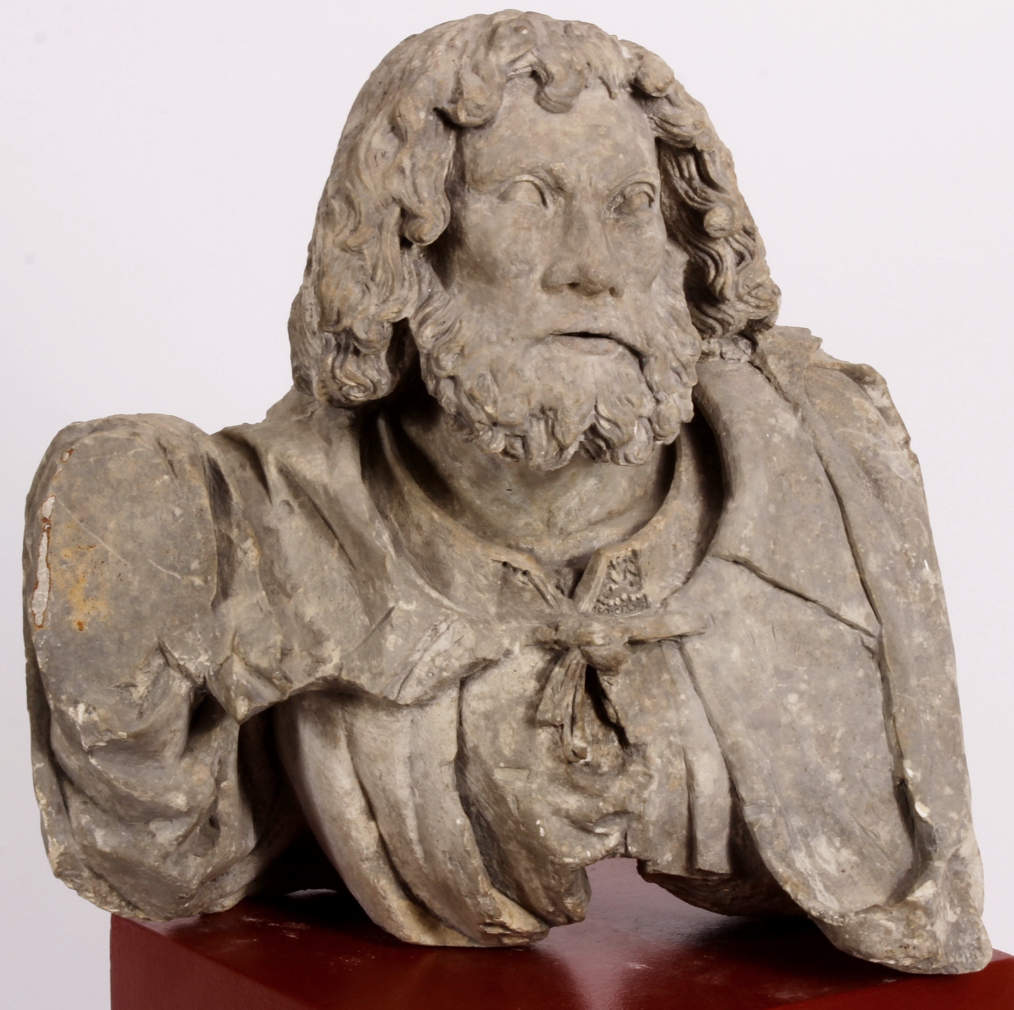 Limestone Bust Of A Man, Alsace-Lorraine Region Of France, 15th C.