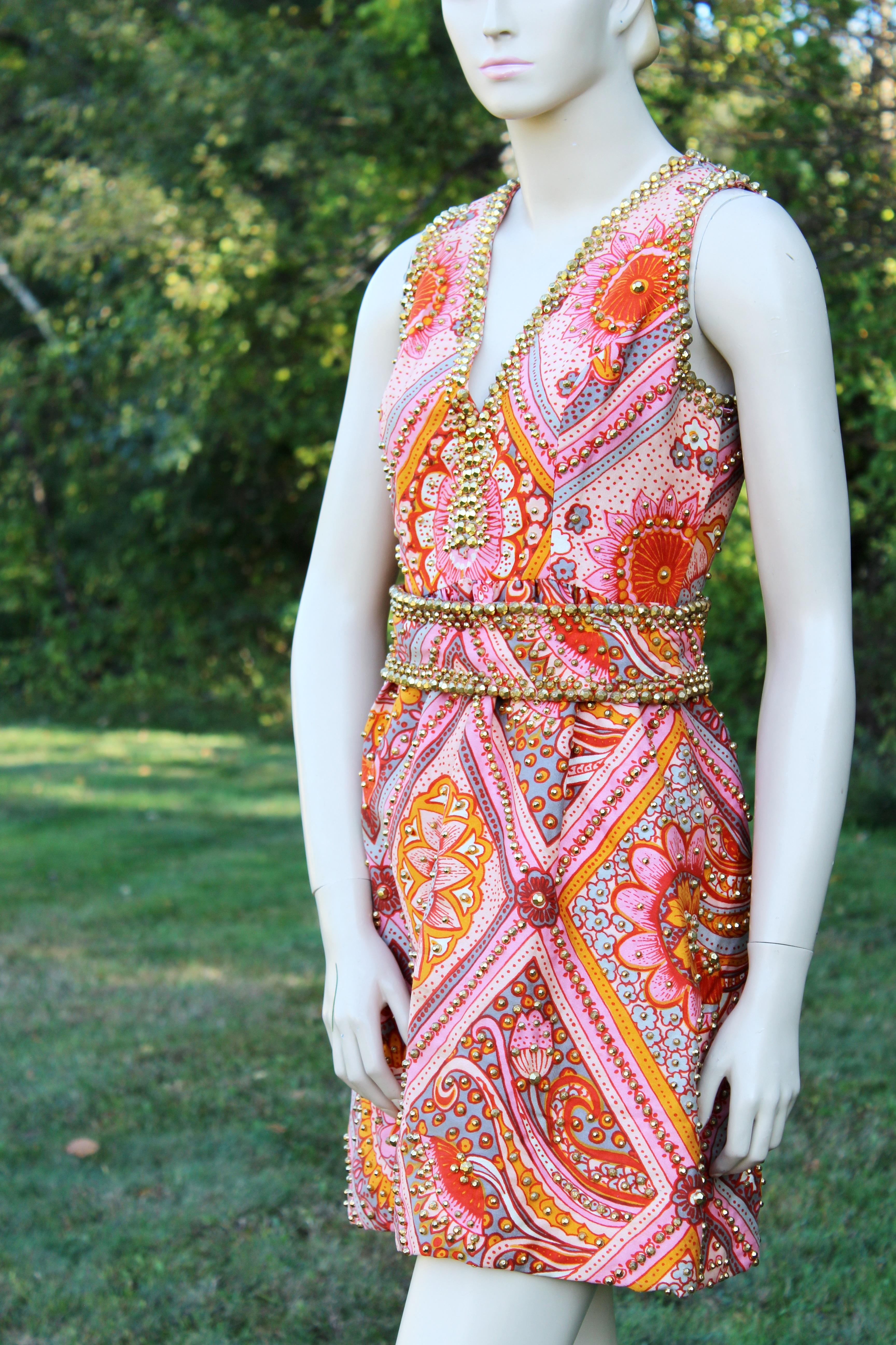 Oscar De La Renta Vintage Studded Dress