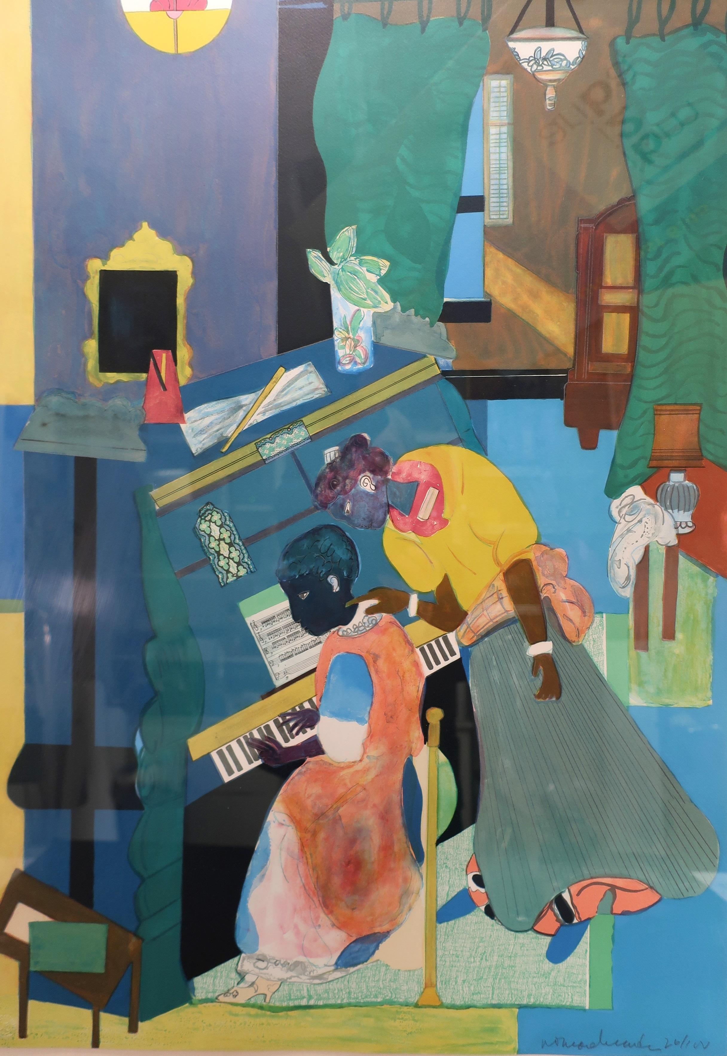 Romare Bearden, Am., 1911-1988, Piano Lesson, Color Lithograph