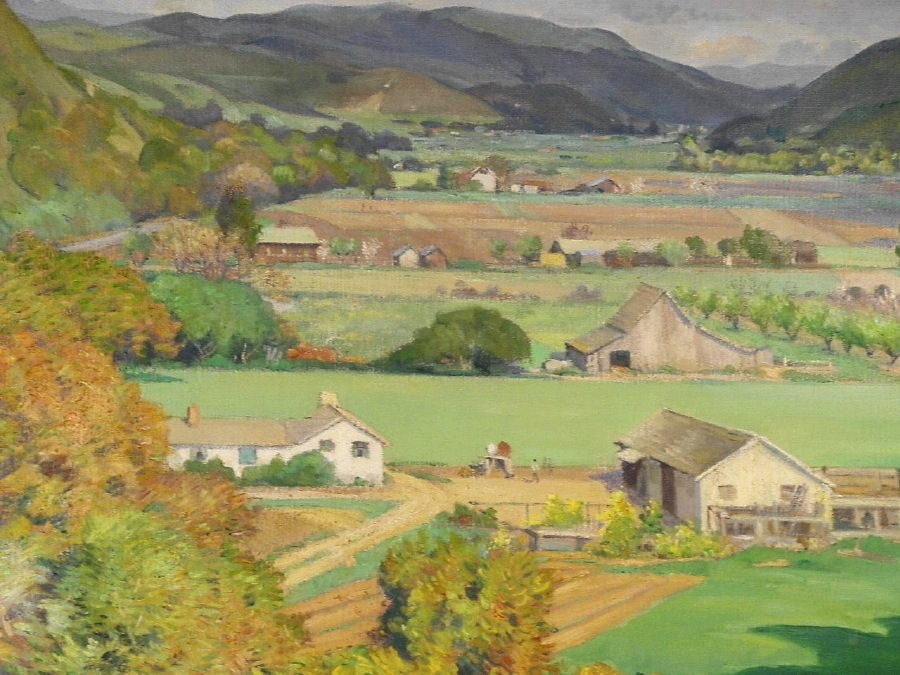 Abel George Warshawsky, CA, 1883 1962, 'Smiling Valley, Carmel, March 1944', Oil On Canvas. Sold For $31,200. No. 658168