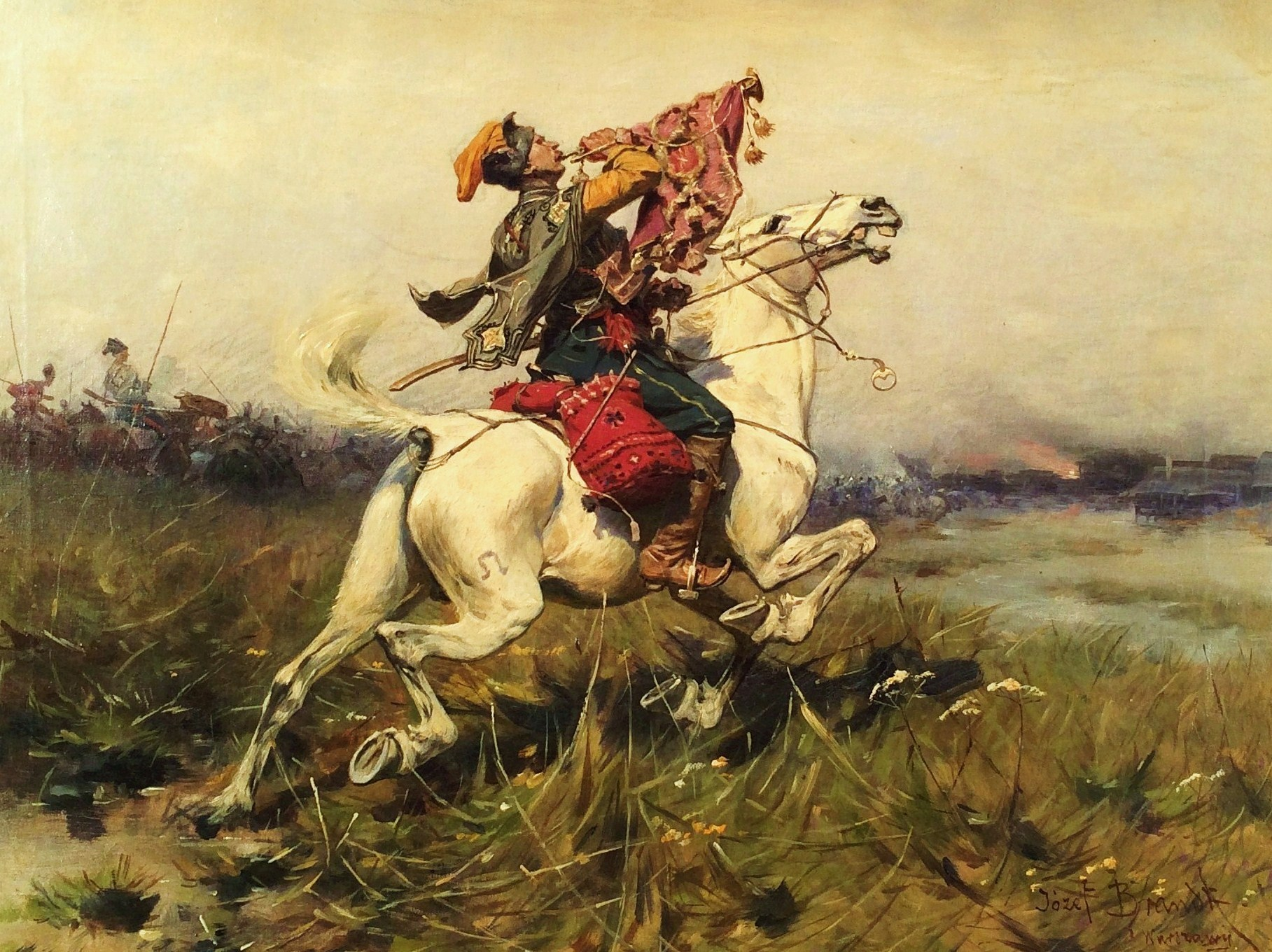 Josef Von Brandt, 1841 1915, Cossack Trumpeter Sounding A Charge