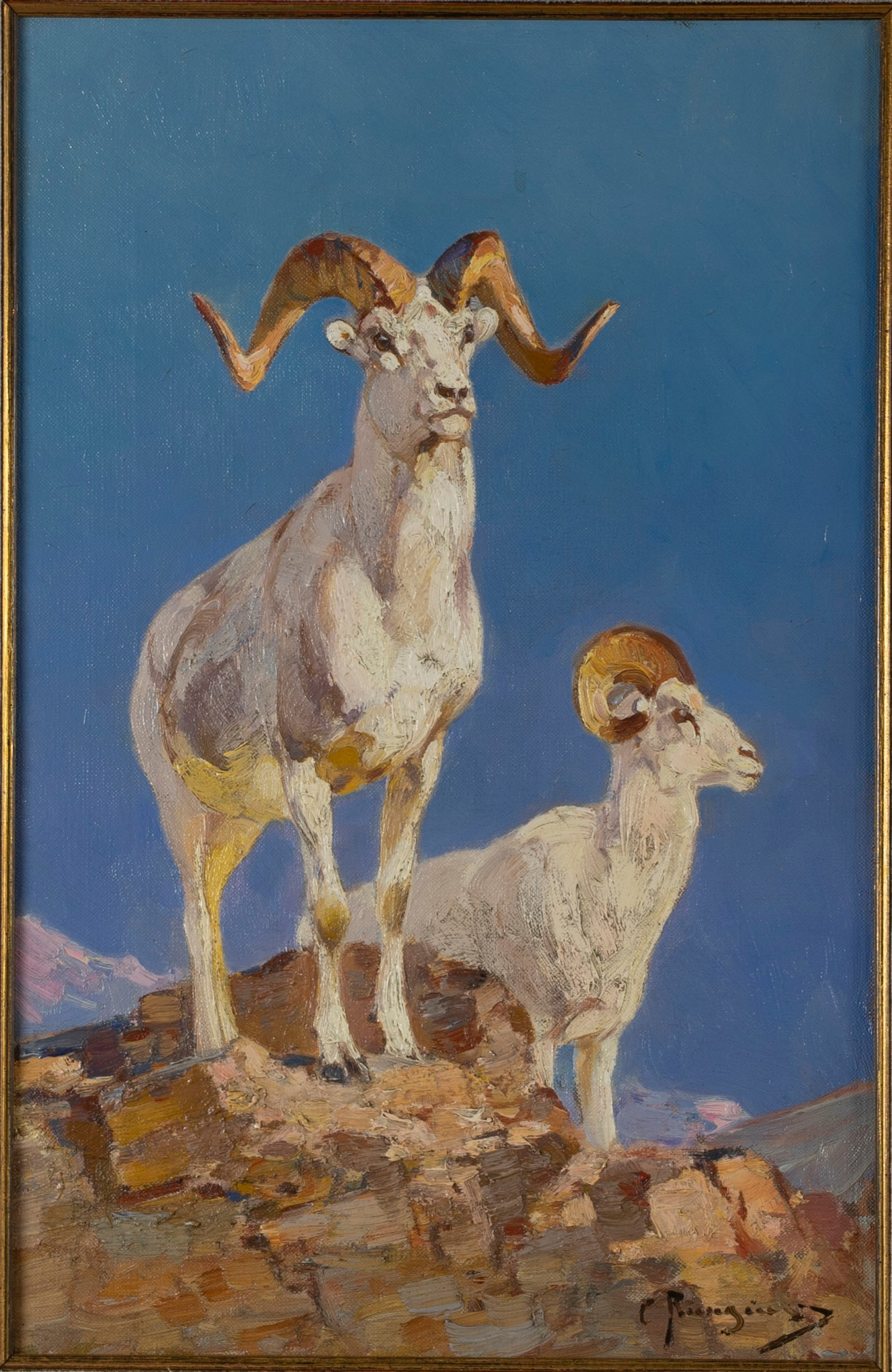 Carl Rungius, 1869-1959, Mountain Goats, Oil On Canvas, Est. 30-50,000