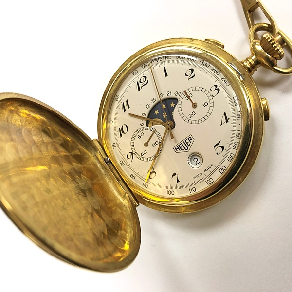 150. TAG Heuer Tachymete Pocket Watch – 18K