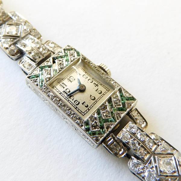 264. Lady's Art Deco Diamond & Emerald Wristwatch