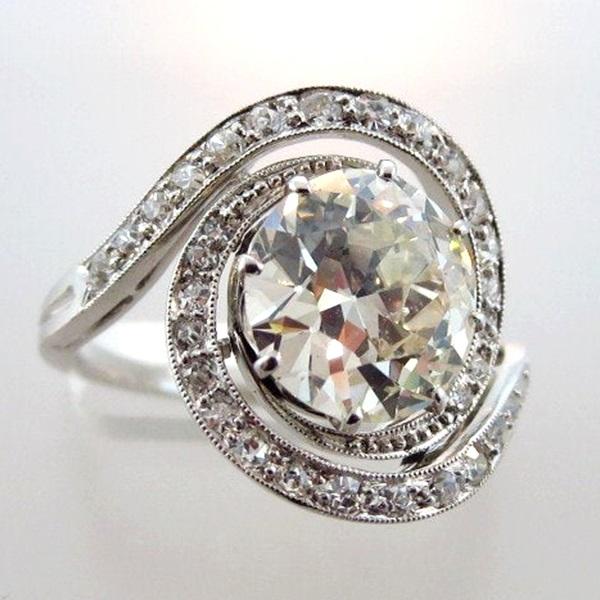 333 Sold 3300 Plus 25. Old European Round Cut Diamond 18K Ring