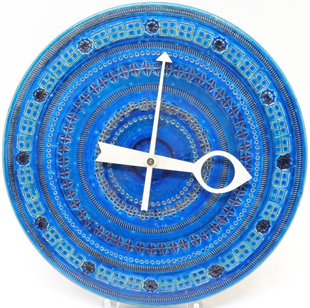 George Nelson, Bitossi Rimini Blue Ceramiche Wal Clock , Components By Howard Miller Clock Company And Distributed By Raymor, Italian, Circa 1950.400.600.2