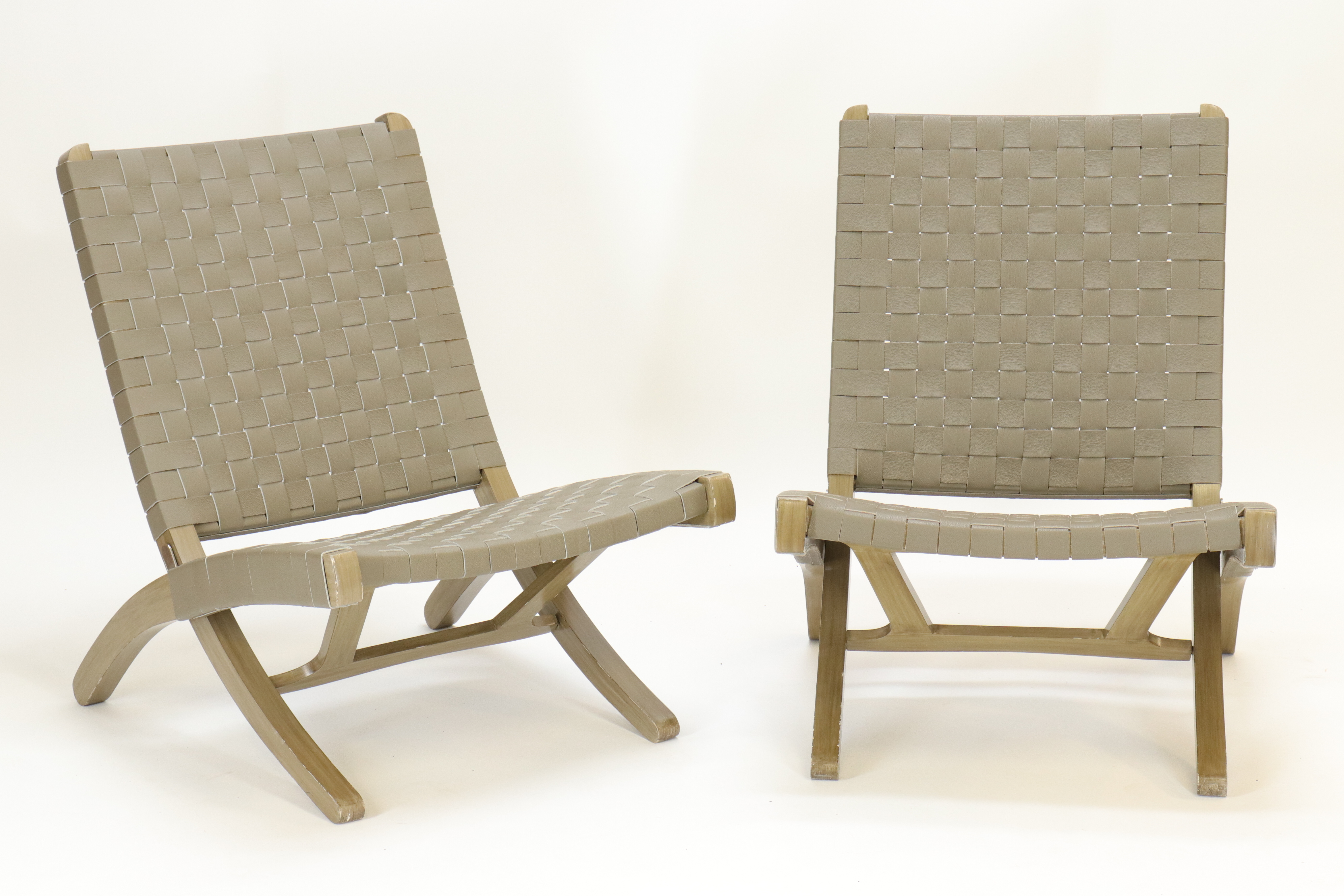 Pair Contemporary Green Painted Leather Woven Folding Chairs.500.800.
