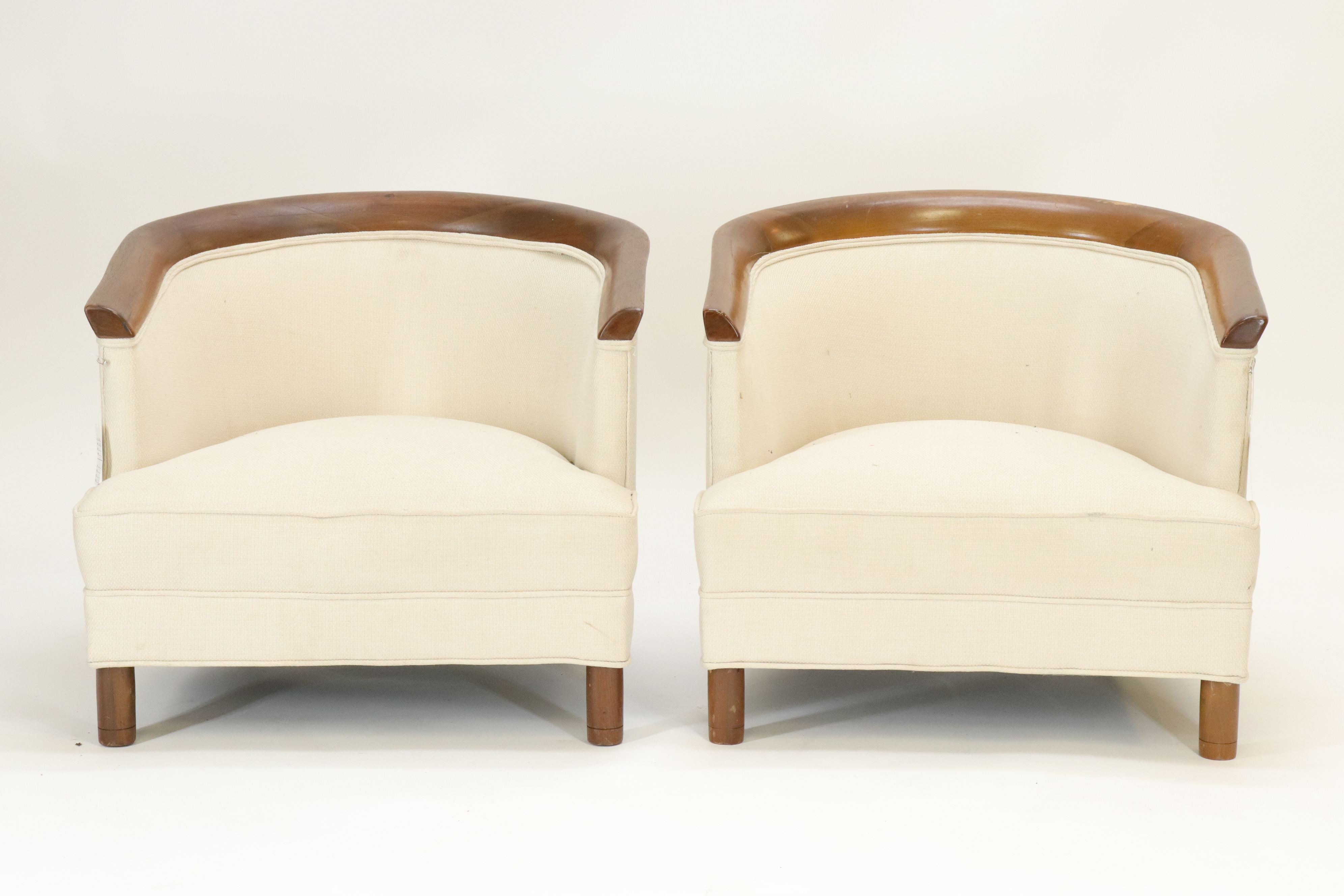 Pair Mid Century Walnut Club Slipper Chairs.400.600